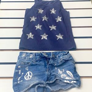 Kids Spring Combo Justice Denim Shorts & Tang-top